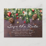 """Rustic Christmas Holiday Party Save the Date Announcement Postcard<br><div class=""""desc"""">Rustic country save the date xmas postcards featuring a dark wooden background,  festive christmas tree branches,  red & gold tree decorations and string twinkle lights.</div>"""