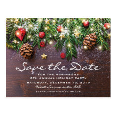 Rustic Christmas Holiday Party Save The Date Postcard at Zazzle