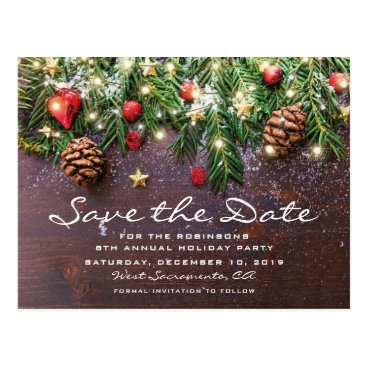 Christmas Themed Rustic Christmas Holiday Party Save the Date Postcard