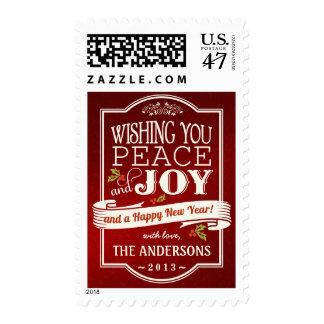 Rustic Christmas Holiday Peace & Joy Postage