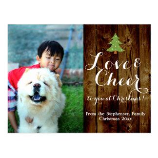Rustic Christmas Holiday Photo Postcard
