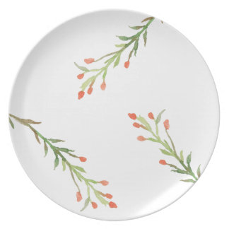 Rustic Christmas Holly Branch Melamine Plate