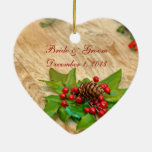 Rustic Christmas Holly Ornament