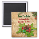 Rustic Christmas Holly Save The Date Magnet
