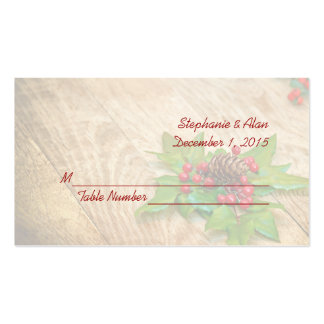 Rustic Christmas Holly Wedding Place Cards Double-Sided Standard Business Cards (Pack Of 100)