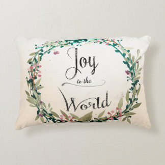 Rustic Christmas Joy to World Accent Pillow