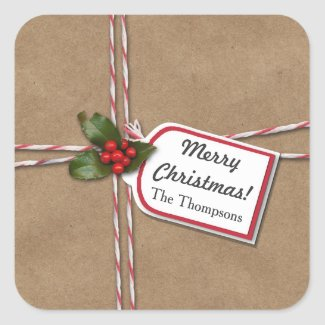 Rustic Christmas Kraft Paper Holly Merry Christmas