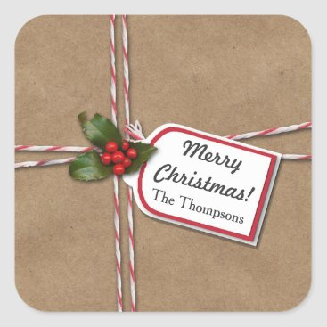 Christmas Themed Rustic Christmas Kraft Paper Holly Merry Christmas Square Sticker