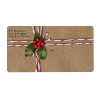 Rustic Christmas Kraft Paper with Holly Berries Shipping Label