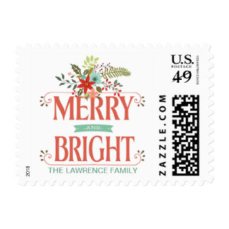 Rustic Christmas Merry & Bright Holiday Postage
