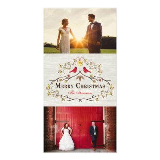 Rustic Christmas Mistletoe & Red Cardinals Photo Card