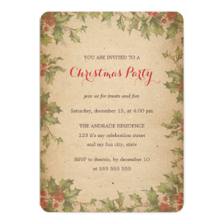 Rustic Christmas Party Vintage Holly Wreath Border Card at Zazzle