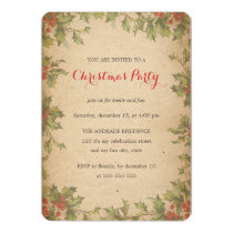 Rustic Christmas Party Vintage Holly Wreath Border Invitation