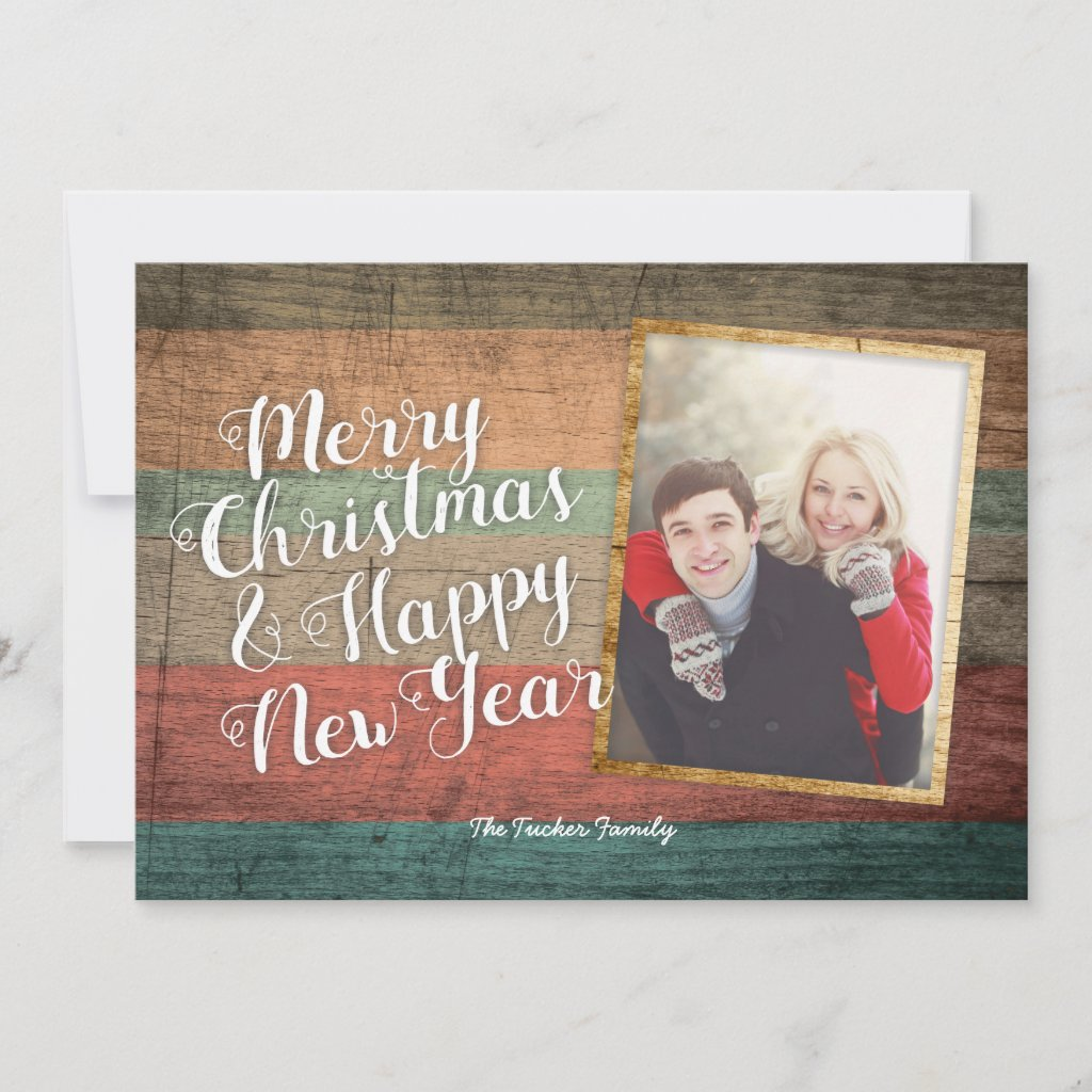 Rustic Christmas Photo Card, Painted Wood Holiday Card