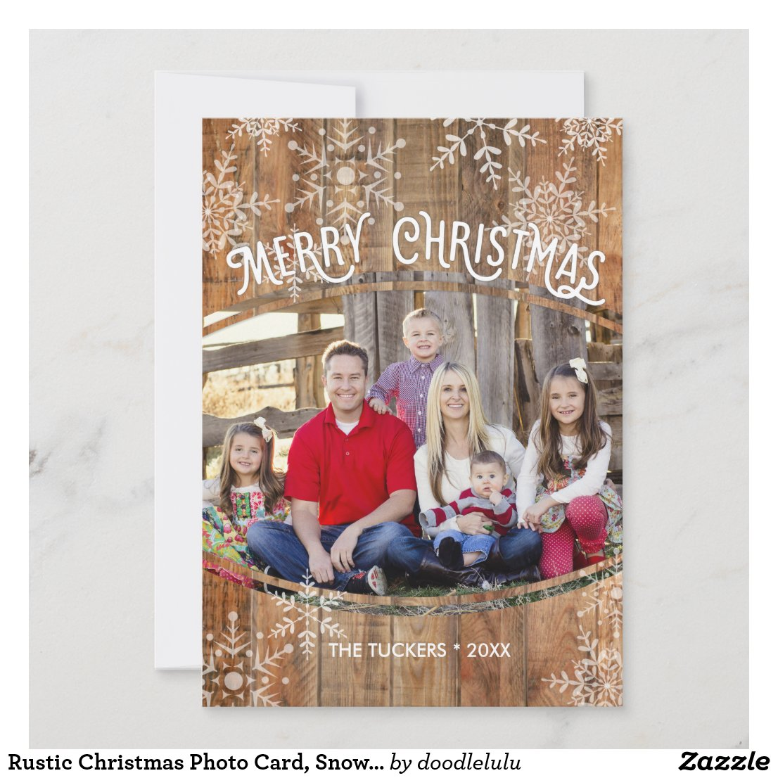 Rustic Christmas Photo Card, Snowflakes on Wood Holiday Card