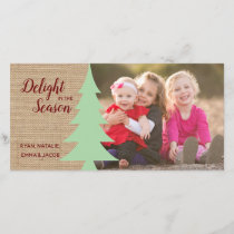 Rustic Christmas Photo with Tree Holiday Card