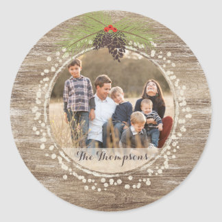Rustic Christmas Pine Branch & Berries Wood Photo Classic Round Sticker
