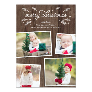 Rustic Christmas Pine Collage Photo Card