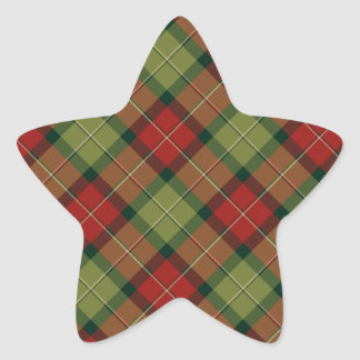 Rustic Christmas Plaid Pattern Star Sticker