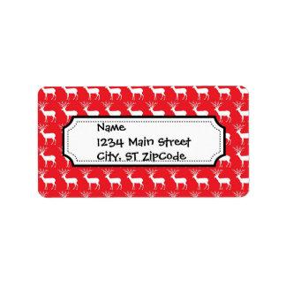 Rustic Christmas Reindeer Pattern Label