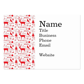 Rustic Christmas Reindeer Trees Birds Holiday Large Business Cards (Pack Of 100)