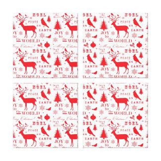 Rustic Christmas Reindeer Trees Birds Holiday Canvas Print