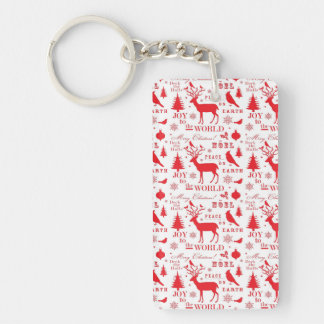 Rustic Christmas Reindeer Trees Birds Holiday Keychain