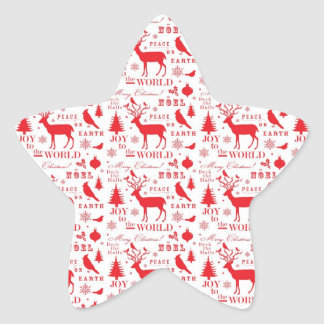 Rustic Christmas Reindeer Trees Birds Holiday Star Sticker