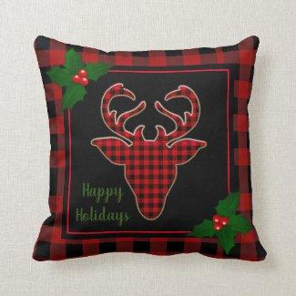 Rustic Christmas Stag Deer Head Buffalo Plaid Throw Pillow
