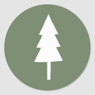 Rustic Christmas Tree Classic Round Sticker