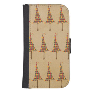 Rustic Christmas Trees Pattern Galaxy S4 Wallet Cases