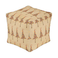 Rustic Christmas Trees Pattern.png Cube Pouf