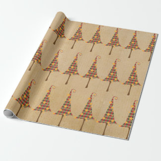 Rustic Christmas Trees Pattern Wrapping Paper