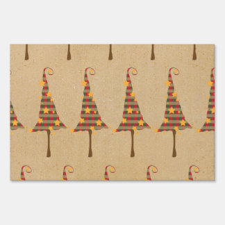 Rustic Christmas Trees Pattern Yard Sign