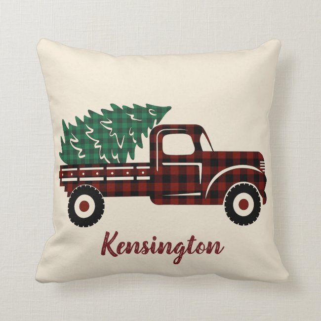 Rustic Christmas Truck Buffalo Plaid Family Name Throw Pillow