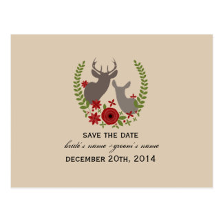 Rustic Christmas Wedding Floral Deer Save The Date Postcards