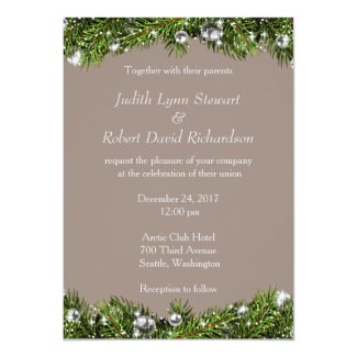 Rustic Christmas Wedding Invitation
