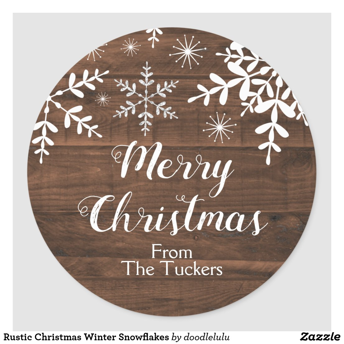 Rustic Christmas Winter Snowflakes Classic Round Sticker