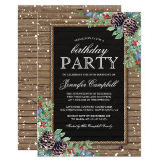 Rustic Christmas Winter Themed Birthday Party Card