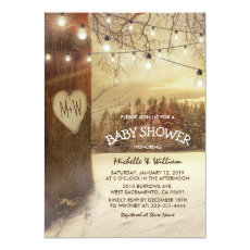 Rustic Christmas Winter Tree Backyard Baby Shower Invite