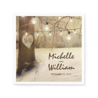 Rustic Christmas Winter Tree Twinkle Lights Napkin