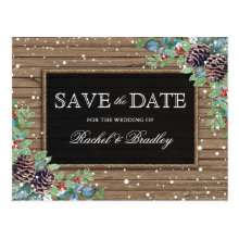 Rustic Christmas Winter Wedding Save the Date