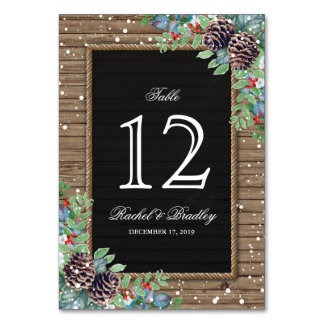 Rustic Christmas Winter Wedding Table Numbers