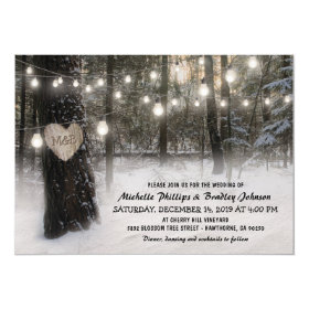 Rustic Christmas Winter Woodland Wedding Invitation