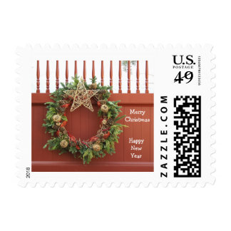 Rustic Christmas Wreath Postage Stamps