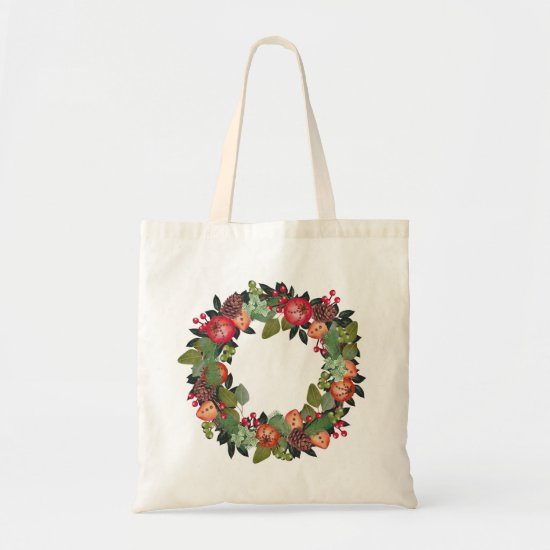 Rustic Christmas Wreath Tote