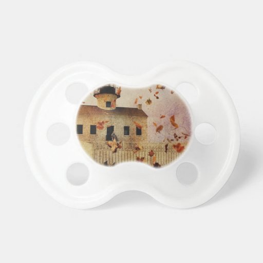 Rustic Church in Fall Baby Pacifiers
