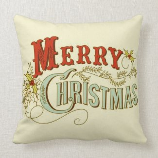 Rustic Classic and Traditional Merry Christmas Throw Pillow