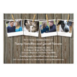 Rustic Clothesline Photo  Wedding Shower Custom Announcements