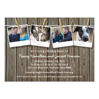 Rustic Clothesline Photo Wedding Shower Custom Announcements